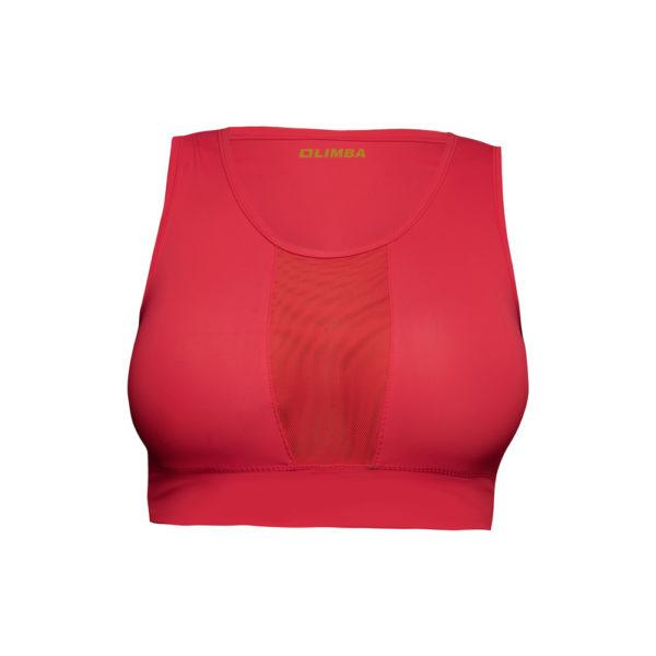 LIMBA Ladies Mesh Inset Crop Top - Red